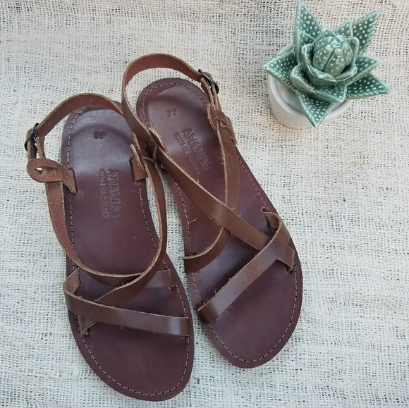 183d730ec6738c Made in Greece - Strappy Brown Leather Sandals